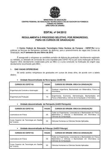 Ingresso de Portadores de Diploma 2012/2º semestre
