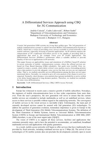 A Differentiated Services Approach using CBQ for 3G Communication