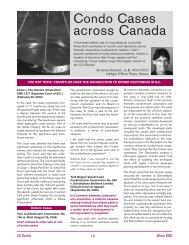 Condo Cases Across Canada - Winter 2006 - Nelligan O'Brien Payne