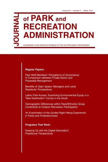 of PARK and RECREATION ADMINISTRATION - Applied Health ...