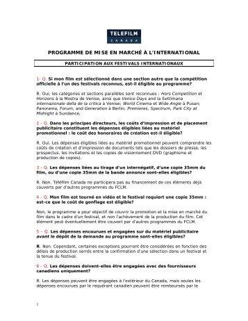 programme de mise en marché à l'international - Telefilm Canada