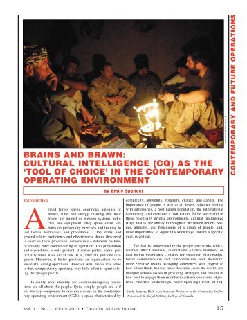 BraINS aND BraWN: CuLTuraL INTELLIgENCE (CQ) aS ThE 'TOOL ...