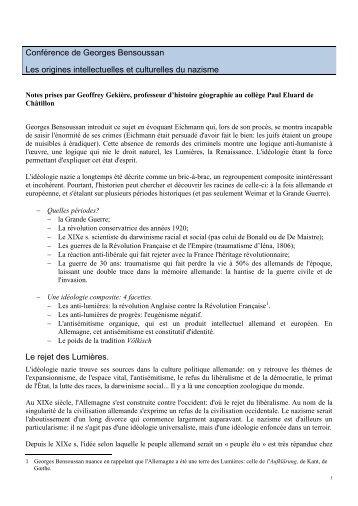 Conf G.Bensoussan - Histoire, Géographie, Education civique