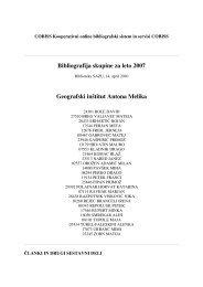 Bibliografija skupine za leto 2007 Geografski inštitut Antona Melika