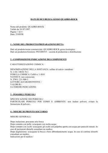 DATI DI SICUREZZA GESSO U 180 - picodent