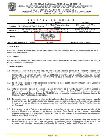 Procedimiento Cobertura de Plazas Definitivas del Personal ...