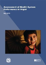 Assessment of Health System Performance in Nepal - Ministerial ...