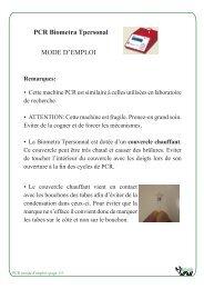 La PCR mode d'emploi - BiOutils - Université de Genève