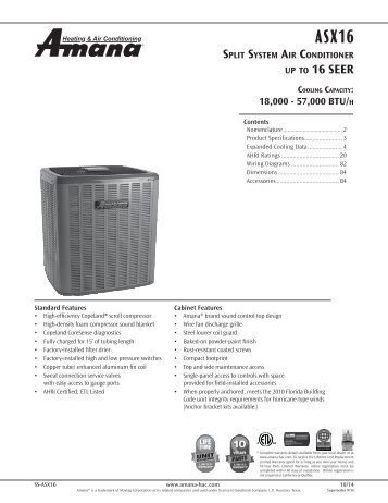 Product Specifications - Amana HAC