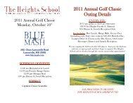 2011 Annual Golf Classic Outing Details - The Heights School