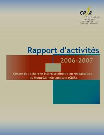 Rapport d'activités 2006-2007 - CRIR