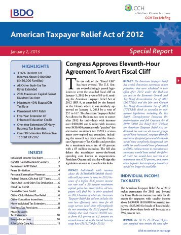 american tax payer relief act of