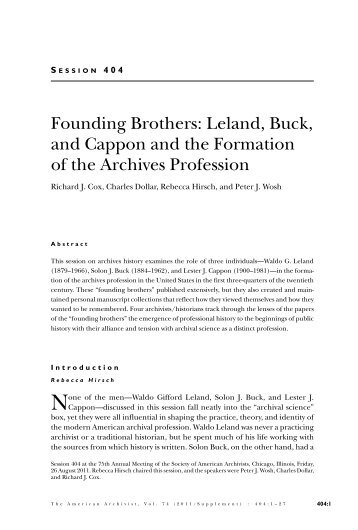 Founding Brothers - Society of American Archivists