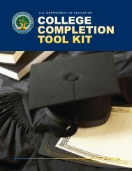 College Completion Tool Kit - Eric - U.S. Department of Education