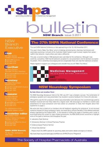 Issue 3, 2011 - The Society of Hospital Pharmacists of Australia