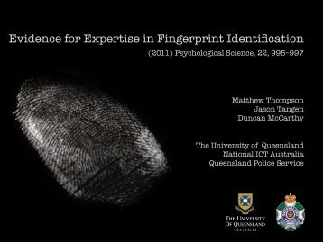 Evidence for Expertise in Fingerprint Identification - OnIn