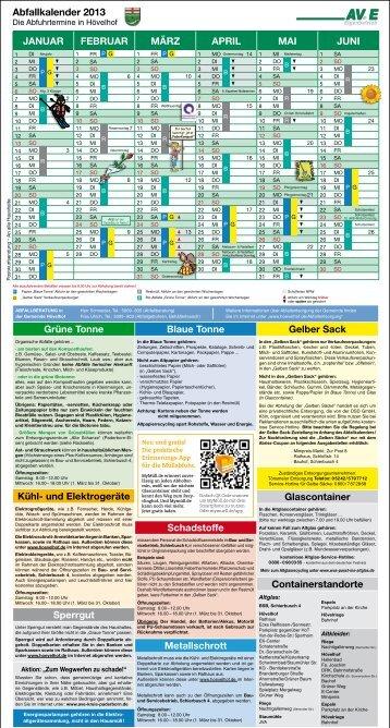 Abfallkalender 2013 Gelber Sack Glascontainer ... - AV.E