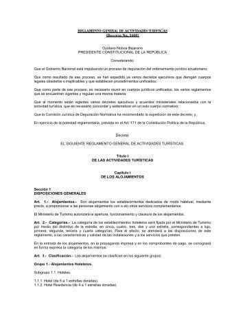 Reglamento General de Actividades Turisticas