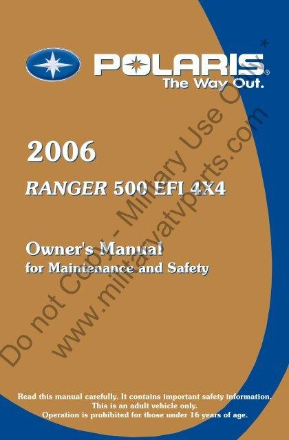 2006 Polaris Ranger 500 Owners Manual Military Atv Parts