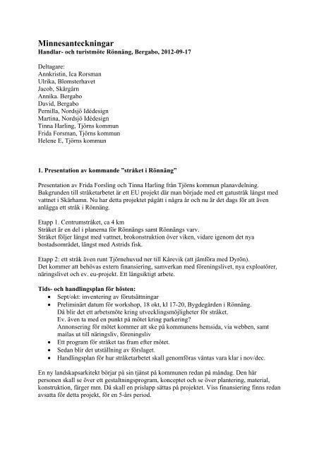 Minnesanteckningar Rönnäng 2012-09-17 - Tjörns kommun
