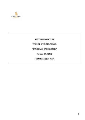 Periode 2010-2012 THEMA Bedrijf en Buurt - OOGent
