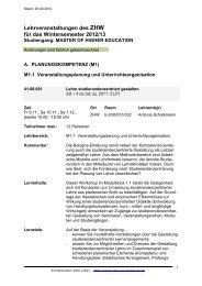 Lehrveranstaltungen des ZHW für das Wintersemester 2012/13
