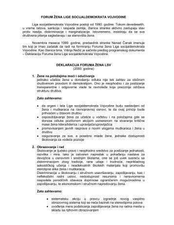 FORUM ŽENA LIGE SOCIJALDEMOKRATA VOJVODINE Liga ...