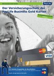 Der Versicherungsschutz der PayLife Business Gold ... - Kreditkarte.at