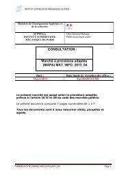 Cahier des clauses techniques particulières - Supméca