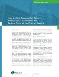 How Medical Banking Can Boost Transactional ... - Cognizant