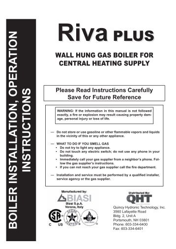 boiler inst alla tion, opera tion instructions - Columbia Heating