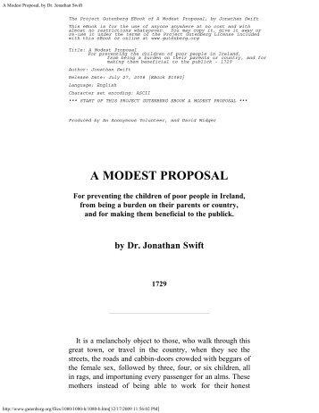 Name A Modest Proposal Jonathan Swift