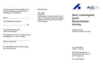 Einladung Beckenbodentraining - AIDS-Hilfe Wuppertal eV