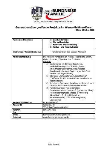 Generationsübergreifende Angebote im WMK - Seniorennetz wmk