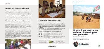 Burundi: permettre aux enfants de développer leur ... - FH Suisse