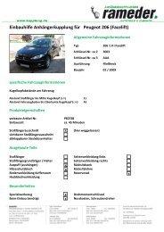 Einbauhilfe Anhängerkupplung für Peugeot 206 (Facelift)