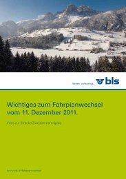 Wichtiges zum Fahrplanwechsel vom 11. Dezember 2011.