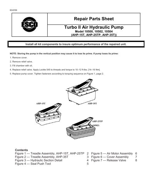 Repair Parts Sheet Turbo II Air Hydraulic Pump - ESCO Tire