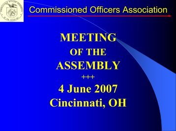 MEETING ASSEMBLY 4 June 2007 Cincinnati, OH - Commissioned ...