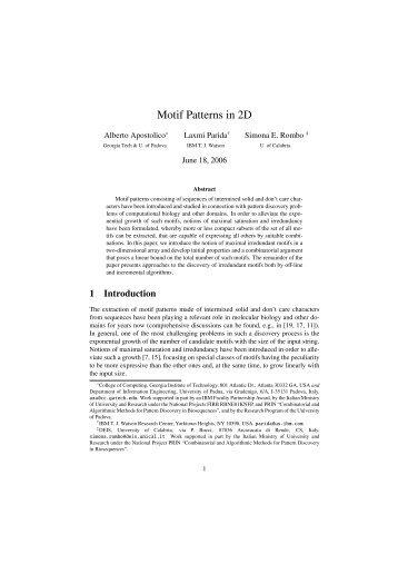 Motif Patterns in 2D