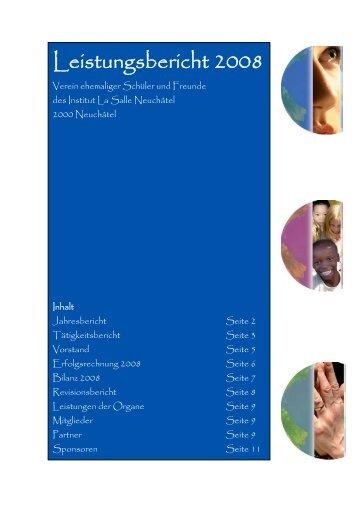 Leistungsbericht 2008 - Verein ehemaliger Schüler und Freunde ...