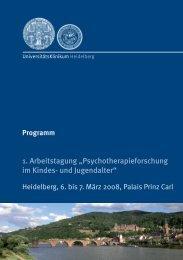 """1. Arbeitstagung """"Psychotherapieforschung im Kindes- und ..."""