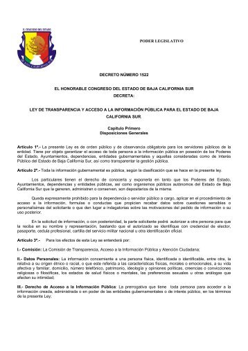 Ley de Transparencia y Acceso a la Información Pública ... - Infomex