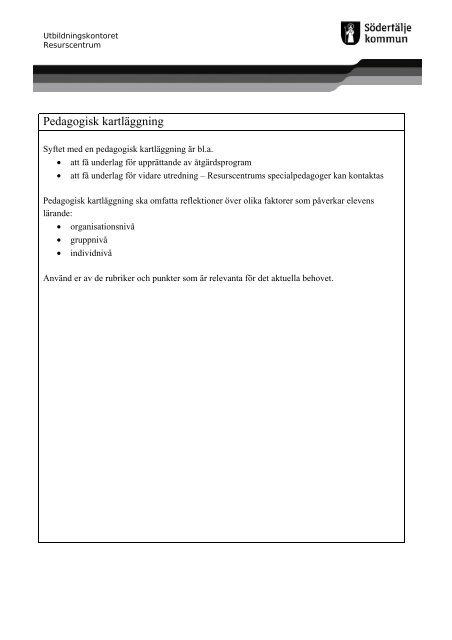 Pedagogisk kartläggning