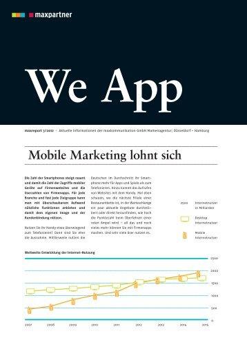 Mobile Marketing lohnt sich We App - maxpartner