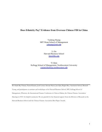 Does Ethnicity Pay? Evidence from Overseas Chinese FDI in ... - MIF