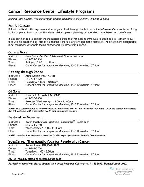 health history and signed physician's consent form - UCSF Medical