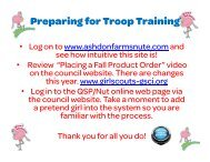 Preparing for Troop Training - Girl Scouts of Central Illinois