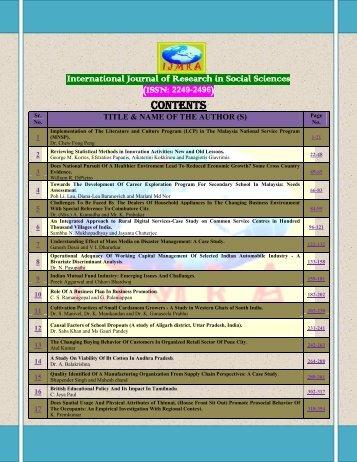 ijrss - International Journals of Multidisciplinary Research Academy