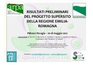 risultati preliminari del progetto supersito della regione emilia